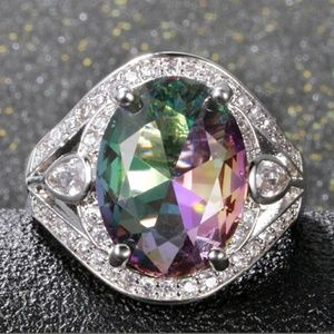 Just arrived Mystic fire topaz silver ring